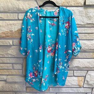 Liberty Love Kimono Top Teal Floral Print XL